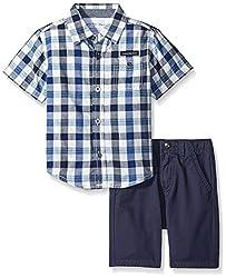 Calvin Klein Little Boys' 2 Piece Set- Woven Button Down with Twill Short, Green, 54-7