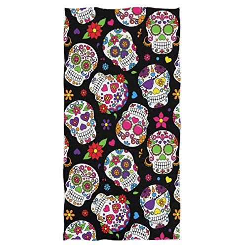 Wamika Day of The Dead Sugar Skull Hand Towels Ultra Soft Towel Heart Flower Absorbent Hand Towel Guest Bath Towels Washcloth Multipurpose for Hand Face Gym Spa 16