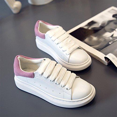 RoseG Zapatos Plataforma Cordones Blanco Cuero Unisex Rosa