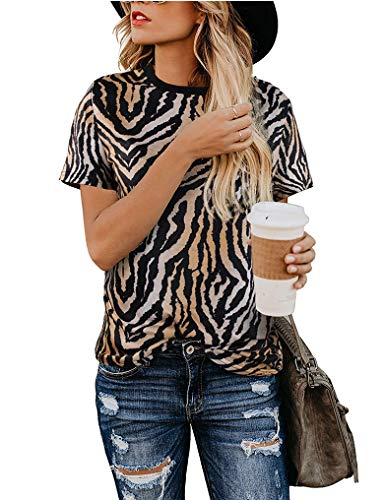 - Women Fashion Top Comfy Casual Short Sleeve Leopard Tops Blouse Tunic T Shirts Leopard03 M