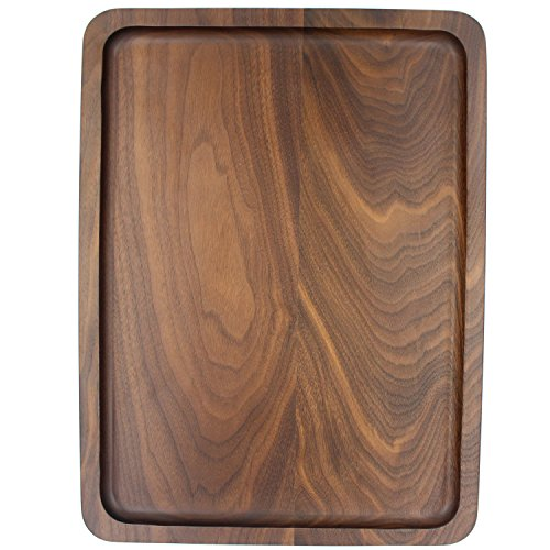 [Bamber Wood Serving Tray, Decorative Trays, Serving Platters for Tea Coffee Wine, Premium Quality, Eco-friendly, Rectangular - Black Walnut (L] (Easy Halloween Cold Appetizers)