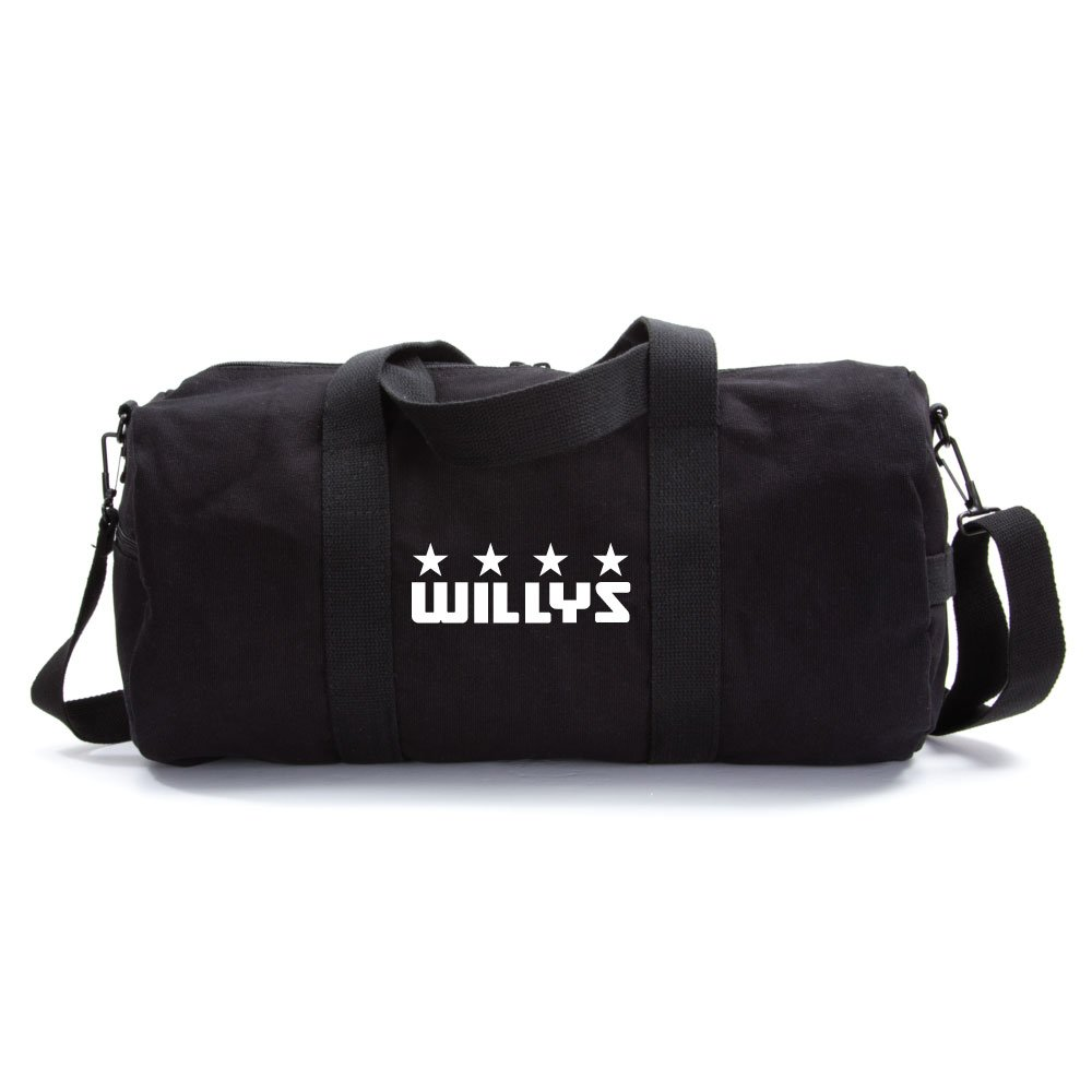 Willys Jeep Freedom Stars Military Army Sport Heavyweight Canvas Duffel Bag in Black & White, Large