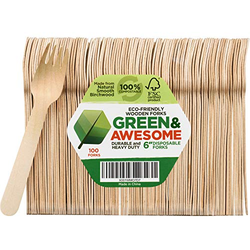 Disposable Bamboo Forks - Disposable Wooden Forks - Pack of 100, 6