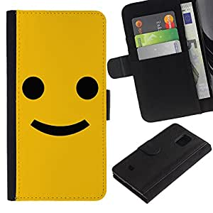KingStore / Leather Etui en cuir / Samsung Galaxy S5 Mini, SM-G800 / Divertido feliz Sonrisa Smiley Face