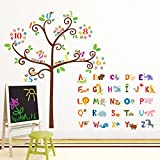 Decowall, DA-1503, Animal Alphabet and Numbers Tree peel & stick Nursery wall decals stickers
