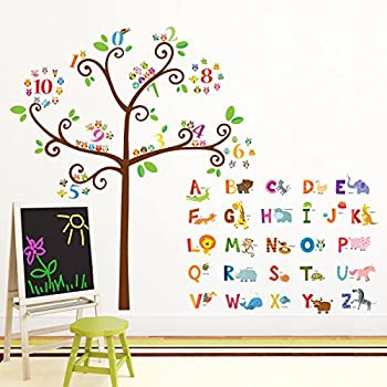 Exceptional Decowall DA 1503 Animal Alphabet ABC And Owl Numbers Tree Kids Wall Decals  Wall Stickers