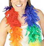 6 Foot Long Rainbow Feather Boa. Lesbian Pride & Gay Pride Flag Apparel Parade Review