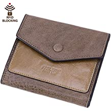 Itslife Women's Small Leather Wallet RFID Card Holder Mini Bifold Ladies Flat Pocket Purse Dark Apricot