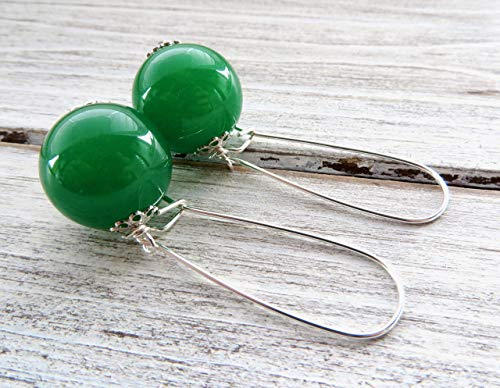 Green jade earrings, 925 sterling silver earrings, round ball earrings, italian jewelry, contemporary jewelry, gift for her