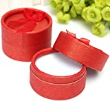 Ac2Shop 10X Jewelry Gift Box Round Ring Earring Boxes Package Birthday Gift Box Case, Red
