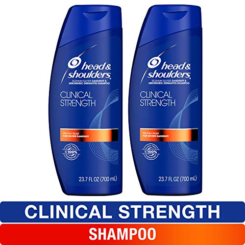 Head and Shoulders Shampoo, Anti Dandruff, Clinical Strength Seborrheic Dermatitis Treatment, 23.7 fl oz, Twin Pack