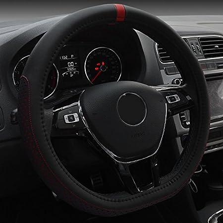XuanMax Cubierta D Forma de microfibra de piel del volante del coche universal transpirable veh/ículo de direcci/ón de la rueda de la manga del protector de antipatinaje Auto St