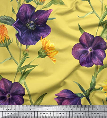 Soimoi Yellow Velvet Fabric Daisy & Clematis Floral Print Sewing Fabric BTY 58 Inch Wide ()