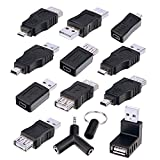 Sunmns OTG USB Mini Micro Male to Female Connector Adapter Converter, Support Data Sync Charging, 13 Pieces