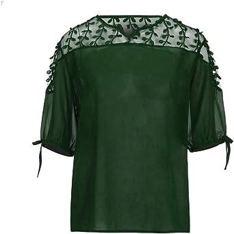 Ronamick Costura Color de ContrasteTops Hermoso Camisetas Mujer Verano Blusa Niña Manga Larga Hermoso Camisa Negra(Verde,XXXL): Amazon.es: Ropa y accesorios