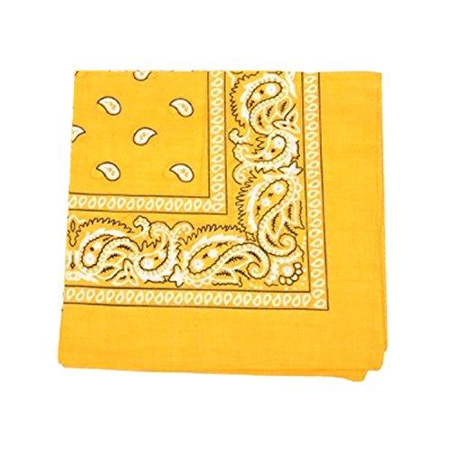 Mechaly Paisley 100% Polyester Unisex Bandanas - 12 Pack - Dozen Wholesale (Yellow) -