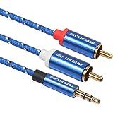 vergoldet schwarz 0,5 m auvisio Premium-Stereo-Kabel 2 Cinch auf 2 Cinch