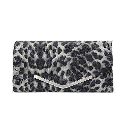 Premium Leopard Zebra Animal Print PU Leather Clutch Bag Handbag, Grey Leopard