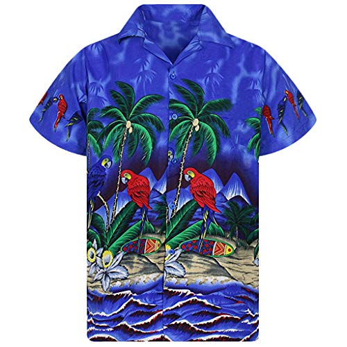 Shirt Funny Hawaiian Button Down Polo Party Shirt Stag Beach Print Party Summer Holiday Fancy Blouse Mens (XXL,6- -