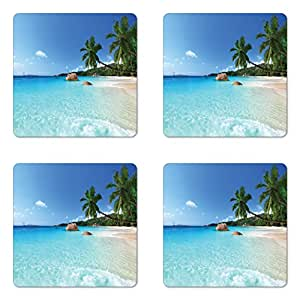 ambesonne ocean coaster set four anse lazio beach at praslin island surfing beach scenic view