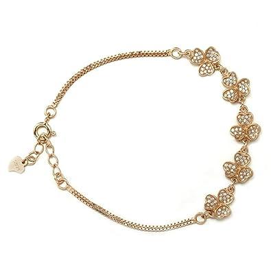 0f27387aac15 BeyDoDo Modeschmuck 925 Sterling Silber Armband Damen Herz Blatt ...