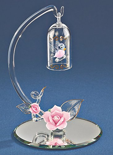 Demori Collection Swinging Songbird Hand Blown Glass Figurine Hanging in Bird Cage 22k Gold Gilded Pink Roses Mirror Base Airbrushed