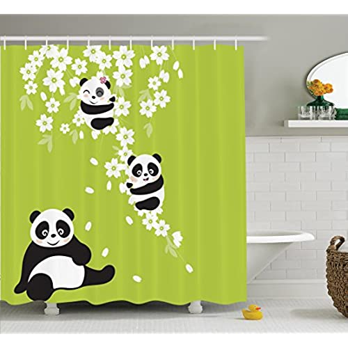 Beautiful Ambesonne Animal Decor Collection, Baby Panda Bears In A Cherry Bloom Tree  Branches With Mom Under The Tree Cartoon , Polyester Fabric Bathroom Shower  ...