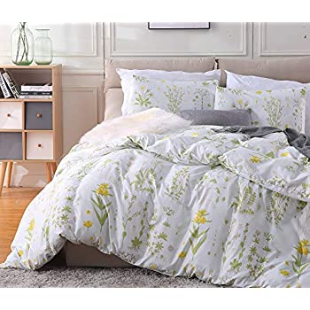 Fire Kirin Botanical Duvet Cover Set 3pc(1 Duvet Cover + 2 Pillowcases) Yellow Flowers and Green Leaves Floral Garden Pattern Printed Bedding Cover Sets ...