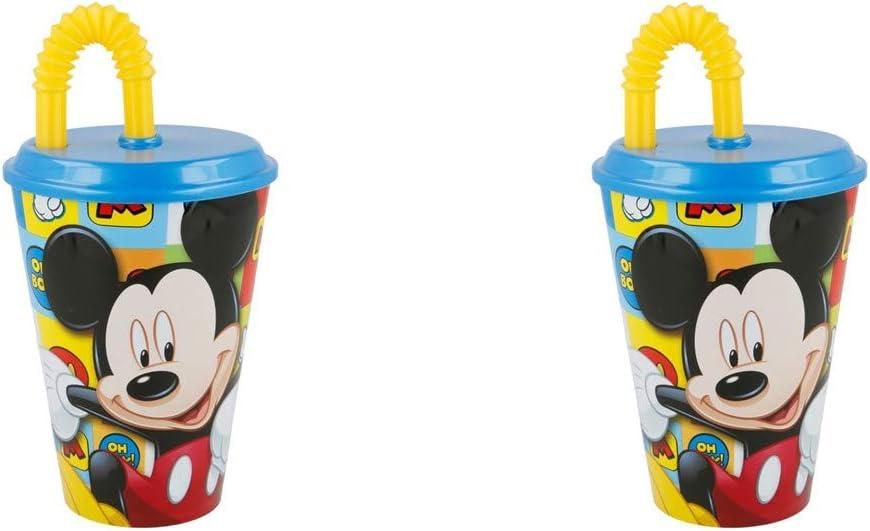 ALMACENESADAN 2518; Pack 2 Vasos con caña Easy Disney Mickey Mouse Icons, Capacidad 430 ml; Producto de plástico; NO BPA