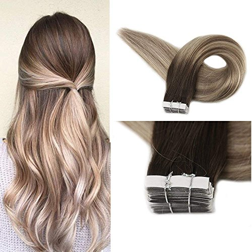 Full Shine 18″ Real Hair Tape in Extensions Color #3 Fading to #8 Highlighted #22 Medium Blonde 20 Pieces Per Pack Balayage Seamless Tape Hair Extensions Remy Human Hair 50 Grams Per Pack Review