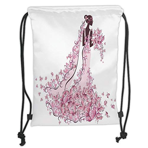 New Fashion Gym Drawstring Backpacks Bags,Wedding Decorations,Flowers Hearts Butterflies on Wedding Dress Bridal Gown,Light Pink Maroon White Soft Satin,Adjustable String Closure,