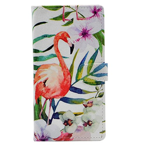 iphone X Case - Flamingo With Tropical Palm tree Garden Hibiscus Flower Pattern Leather Wallet Case Stand Cover with Cash Card Slots For Apple iphone X (2017 Edition) New Arrival - Cool as Great Gift Hibiscus Purse