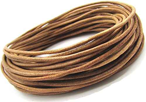 (2.0mm Solid Round Genuine/Real Leather Cord Braiding String for Bracelet Necklace (Natural, 10 Meter))
