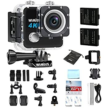 Action Camera, WIMIUS L1 Underwater Action Camera 4k Ultra HD 20MP Sports Action Camera Wifi Waterproof, DV Camcorder Sony Sensor 170 Degree Wide Angle Lens + 2 Batteries (Black)