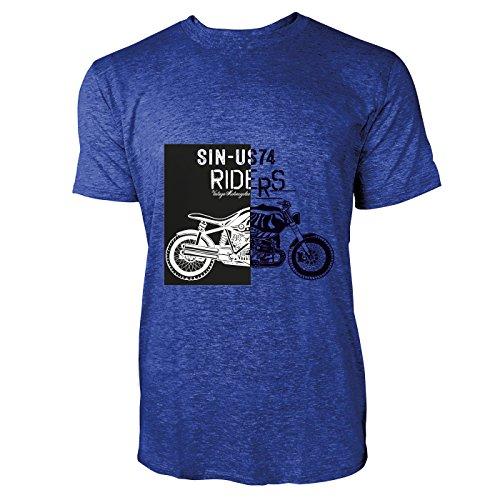 SINUS ART® Vintage Motorcycle Riders Herren T-Shirts in Vintage Blau Cooles Fun Shirt mit tollen Aufdruck