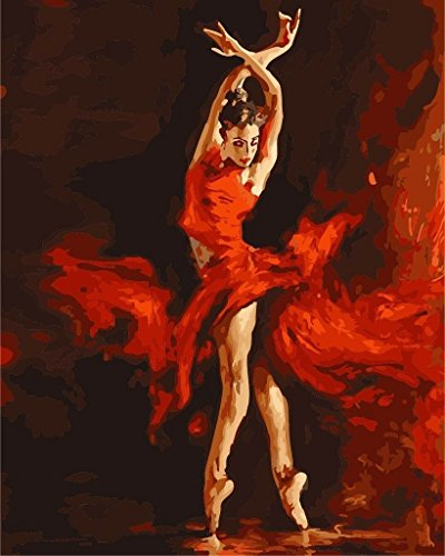 New Paint by Number Kits - Dancer Ballet Ballerina Red Fire Girl 16x20 inch Frameless