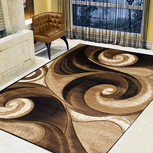 Swirls Abstract Design Modern Contemporary Hand Carved Area Rug-Chocolate/Beige/Black ()