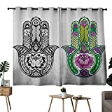 """NUOMANAN Customized Curtains Hamsa,Hand Drawn Symbols with Flourishing Lotus Flowers Ancient Protection Power Icons, Multicolor,Tie Up Window Drapes Living Room 42""""x54"""""""