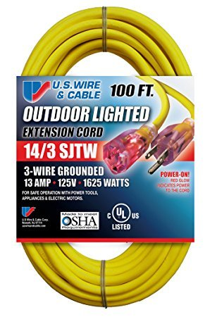 (US Wire and Cable 100 Foot Lighted Extension Cord (2-Pack) )