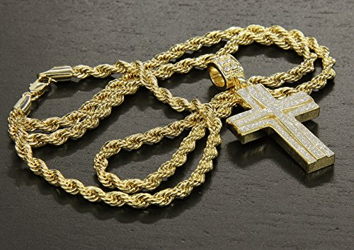 Mens 14k Gold Plated Stardust Two Cross Thick Pendant Hip