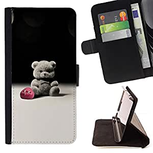 For Samsung ALPHA G850 - Cute Tedy Beark B W /Funda de piel cubierta de la carpeta Foilo con cierre magn???¡¯????tico/ - Super Marley Shop -
