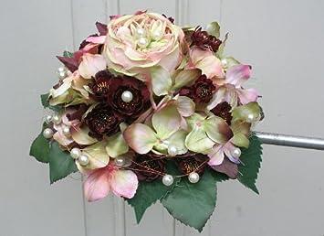 Brautstrauss Biedermeier Seidenblumen Rosen Strauss Hochzeit Mit Rosa