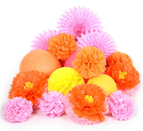 PAPER JAZZ Dual Color Pompom Flower Lantern Paper Pinwheel Fan Party Decoration kit for Wedding Birthday Bridal Shower Baby Shower Home Store Decoration (Orange Pink Yellow)]()