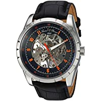 Lucien Piccard Men's 'Hampton' Mechanical Hand Wind Stainless Steel and Leather Casual Watch, Color:Black (Model: LP-40028M-01-OA)