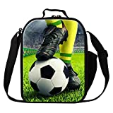 Dispalang Football Print Lunch Cooler Bags Small Soccer Insulated Lunch Box Bags Lunch Container