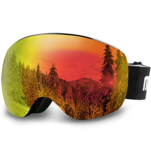 AKASO OTG Ski Goggles, Snowboard Goggles, Mag-Pro Magnetic Interchangeable Lenses, Anti-Fog, 100% UV Protection, Helmet Compatible, Snow Goggles for Men & Women, Free Balaclava Ski Mask Included ()