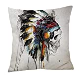 Indian Skull Cushion Cover ChezMax Cotton Linen Throw Pillow Case Sham Square Pillowcase For Lounge Saloon Decorations Decor Decorative