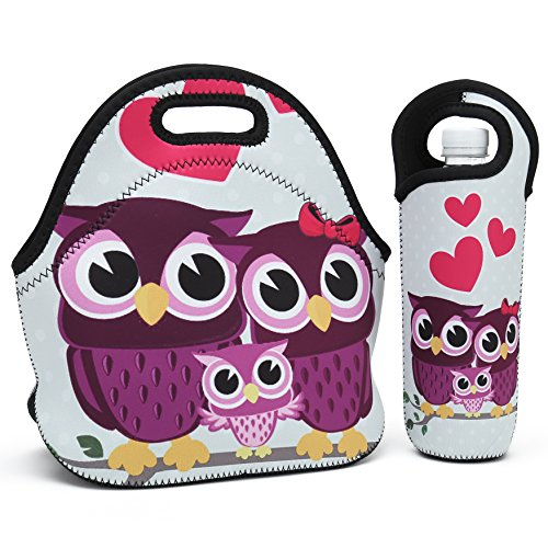 (Neoprene Lunch Bag,Thick insulated Lunch Box Bag For Women,Men & Kids Includes Water Bottle Carrier For Snacks & Lunch- Lightweight|Rugged Lunchbox |For Travel,Picnic,School,Office (Cute Three Owls))