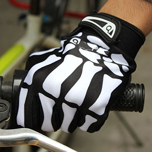 AV SUPPLY Winter WindStopper Thermal Fleece Bone Skeleton Cycling Gloves Outdoor Sport Bicycle MTB Racing Full Finger Cycling Riding Motorcycle Protective Hand Gloves for Women Men Black,M/L/XL
