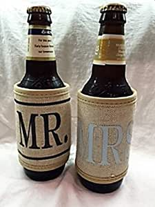 "Jute Burlap Bride and Groom ""MR."" and ""MRS."" Koozie Set"